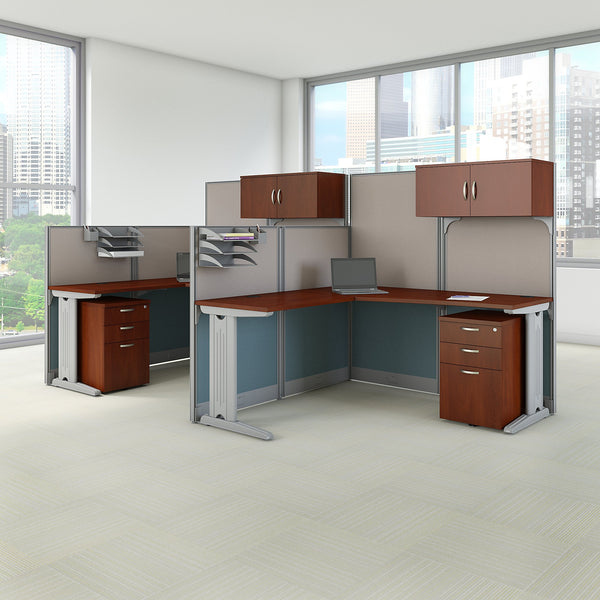 Bush Business Furniture Office in an Hour 2 Person L Shaped Cubicle Workstations | Hansen Cherry