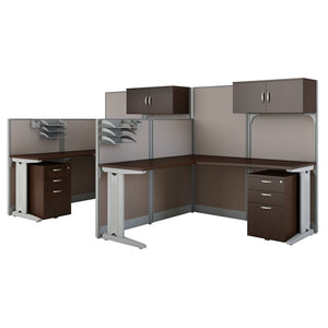 Bush Business Furniture Office in an Hour 2 Person L Shaped Cubicle Workstations | Mocha Cherry