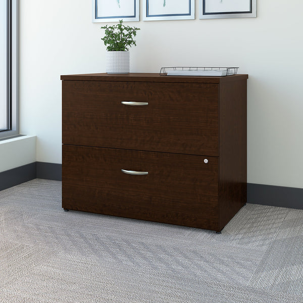 Bush Business Furniture Office in an Hour Lateral File Cabinet | Mocha Cherry