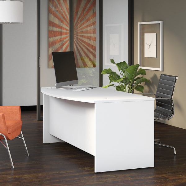 Bush Business Furniture Studio C 72W x 36D Bow Front Desk | White