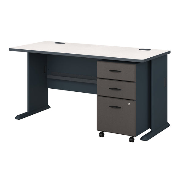 Bush Business Furniture Series A 60W Desk with Mobile File Cabinet | Slate/White Spectrum