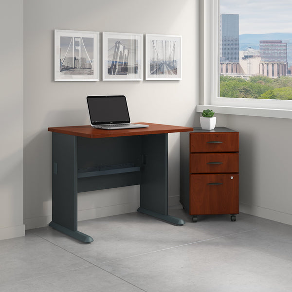Bush Business Furniture Series A 36W Desk with Mobile File Cabinet | Hansen Cherry/Galaxy