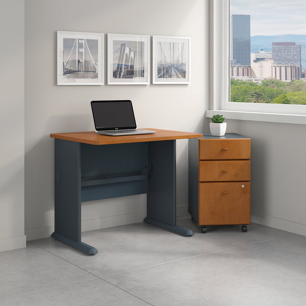 Bush Business Furniture Series A 36W Desk with Mobile File Cabinet | Natural Cherry/Slate
