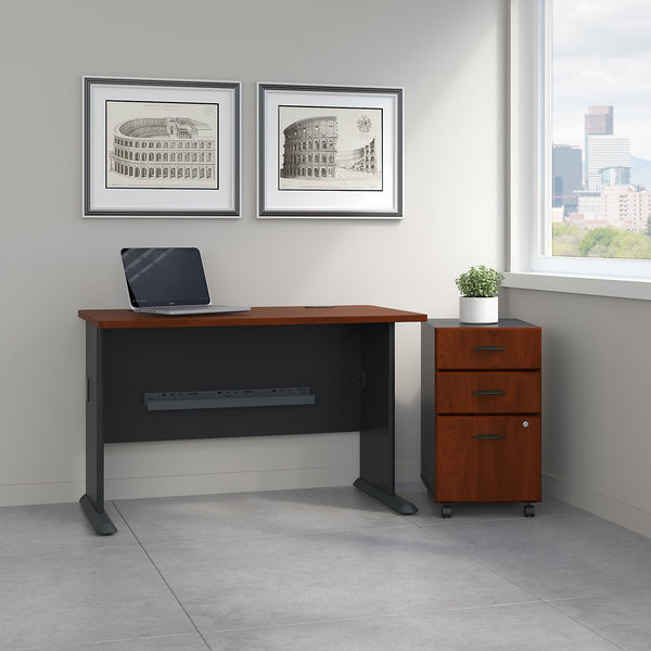 Bush Business Furniture Series A 48W Desk with Mobile File Cabinet | Hansen Cherry/Galaxy