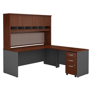 Bush Business Furniture Series C 72W L Shaped Desk with Hutch and Mobile File Cabinet | Hansen Cherry/Graphite Gray
