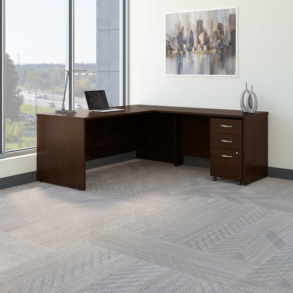 Bush Business Furniture Series C 72W L Shaped Desk with 48W Return and Mobile File Cabinet | Mocha Cherry