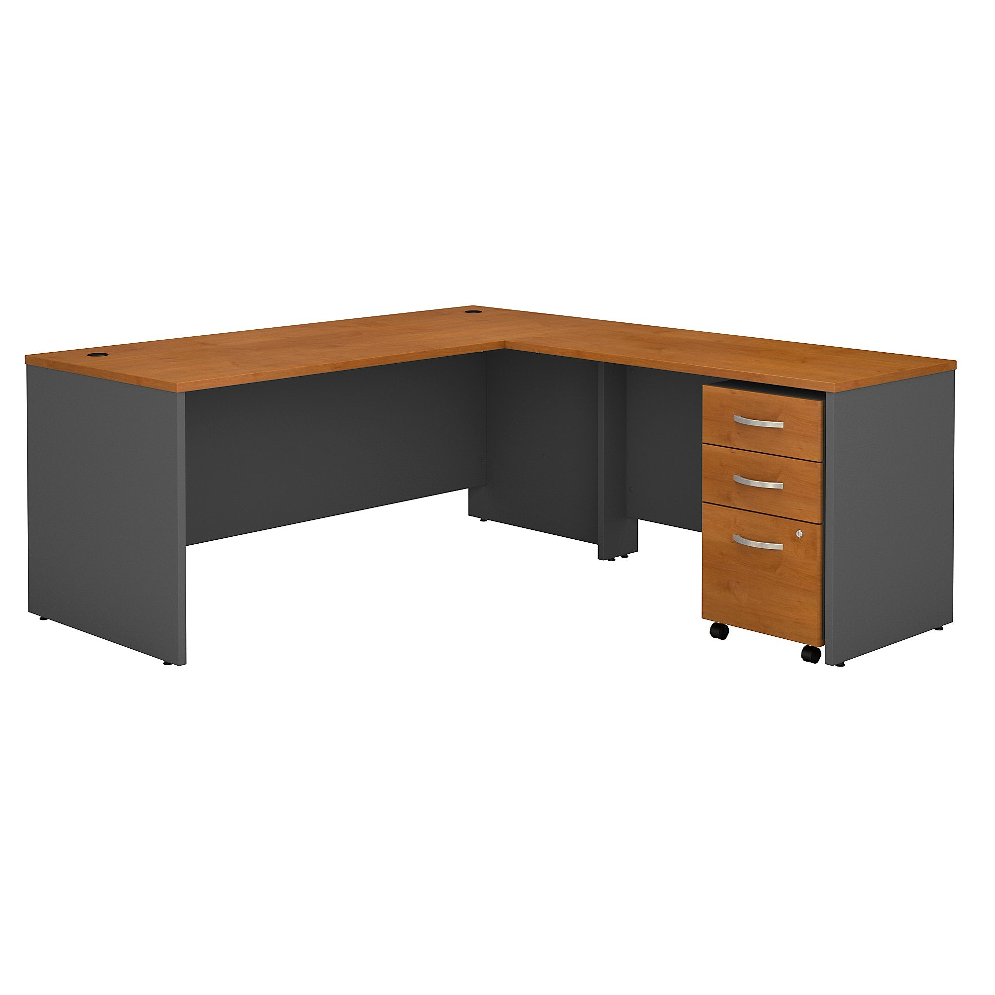 Bush Business Furniture Series C 72W L Shaped Desk with 48W Return and Mobile File Cabinet | Natural Cherry/Graphite Gray