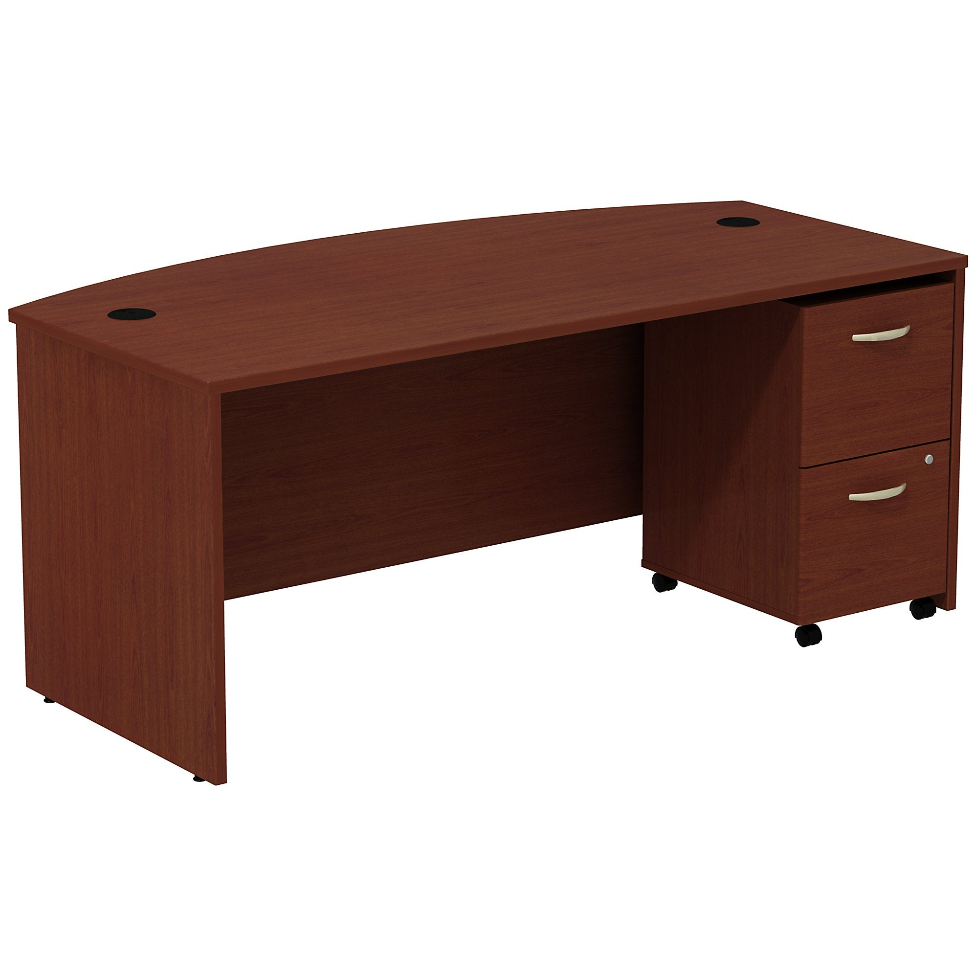 Bush Business Furniture Series C Bow Front Desk with 2 Drawer Mobile Pedestal | Mahogany