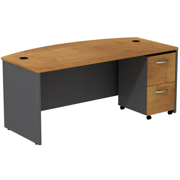 Bush Business Furniture Series C Bow Front Desk with 2 Drawer Mobile Pedestal | Natural Cherry/Graphite Gray