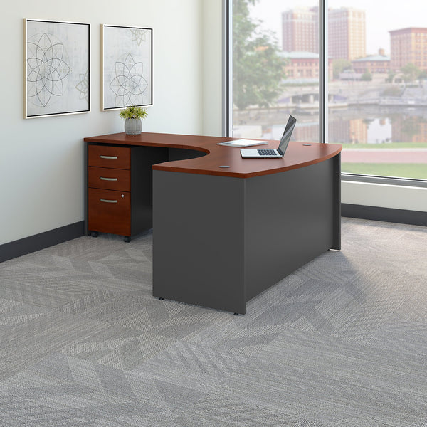 Bush Business Furniture Series C Left Handed L Shaped Desk with Mobile File Cabinet | Hansen Cherry/Graphite Gray