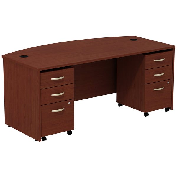 Bush Business Furniture Series C Bow Front Desk with (2) 3 Drawer Mobile Pedestals | Mahogany