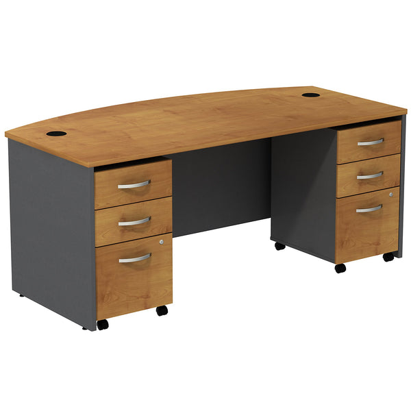 Bush Business Furniture Series C Bow Front Desk with (2) 3 Drawer Mobile Pedestals | Natural Cherry/Graphite Gray