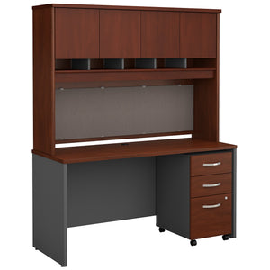 Bush Business Furniture Series C 60W x 24D Office Desk with Hutch and Mobile File Cabinet | Hansen Cherry