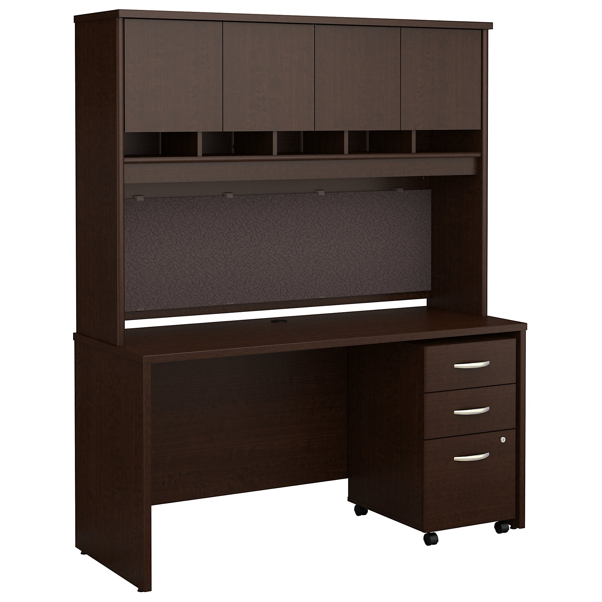 Bush Business Furniture Series C 60W x 24D Office Desk with Hutch and Mobile File Cabinet | Mocha Cherry