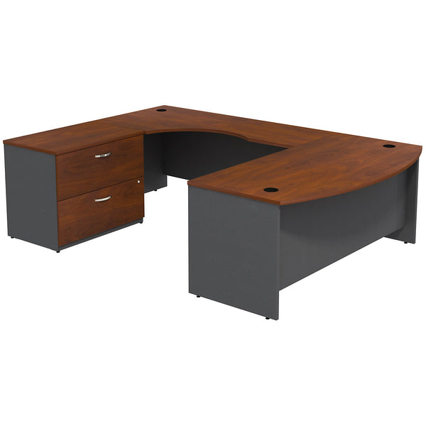 Bush Business Furniture Series C Bow Front Left Handed U Shaped Desk with 2 Drawer Lateral File Cabinet | Hansen Cherry/Graphite Gray