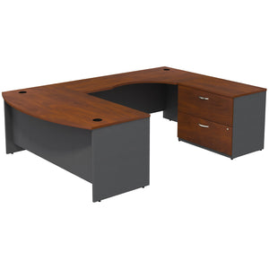 Bush Business Furniture Series C Bow Front Right Handed U Shaped Desk with 2 Drawer Lateral File Cabinet | Hansen Cherry/Graphite Gray