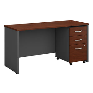 Bush Business Furniture Series C 60W x 24D Office Desk with Mobile File Cabinet | Hansen Cherry