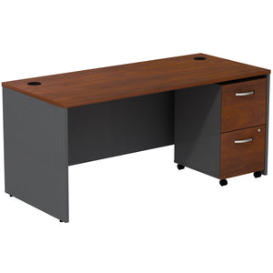 Bush Business Furniture Series C Desk with 2 Drawer Mobile Pedestal | Hansen Cherry
