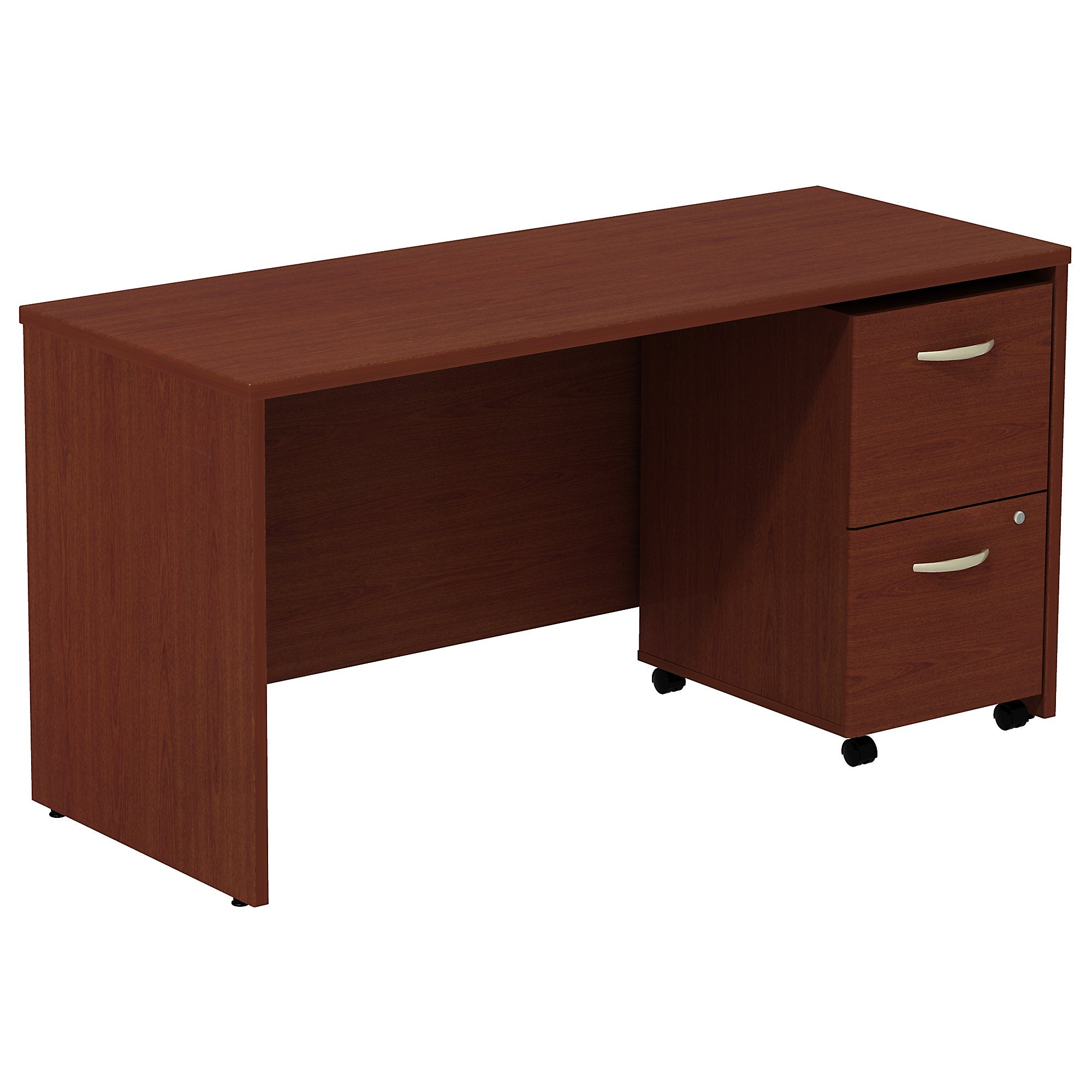 Bush Business Furniture Series C Desk Credenza with 2 Drawer Mobile Pedestal | Mahogany