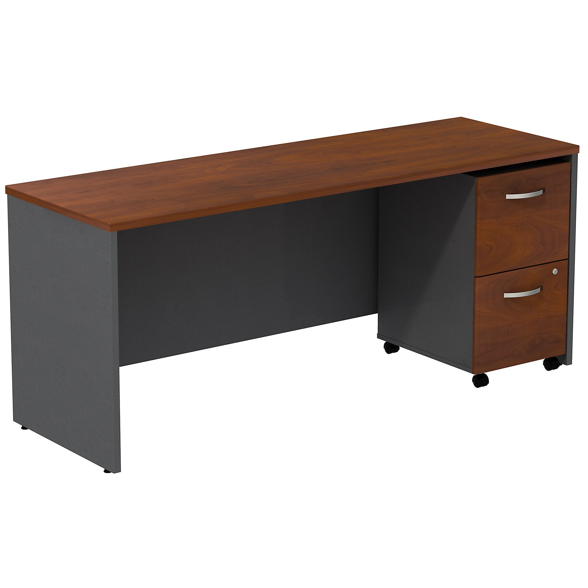 Bush Business Furniture Series C Desk Credenza with 2 Drawer Mobile Pedestal | Hansen Cherry