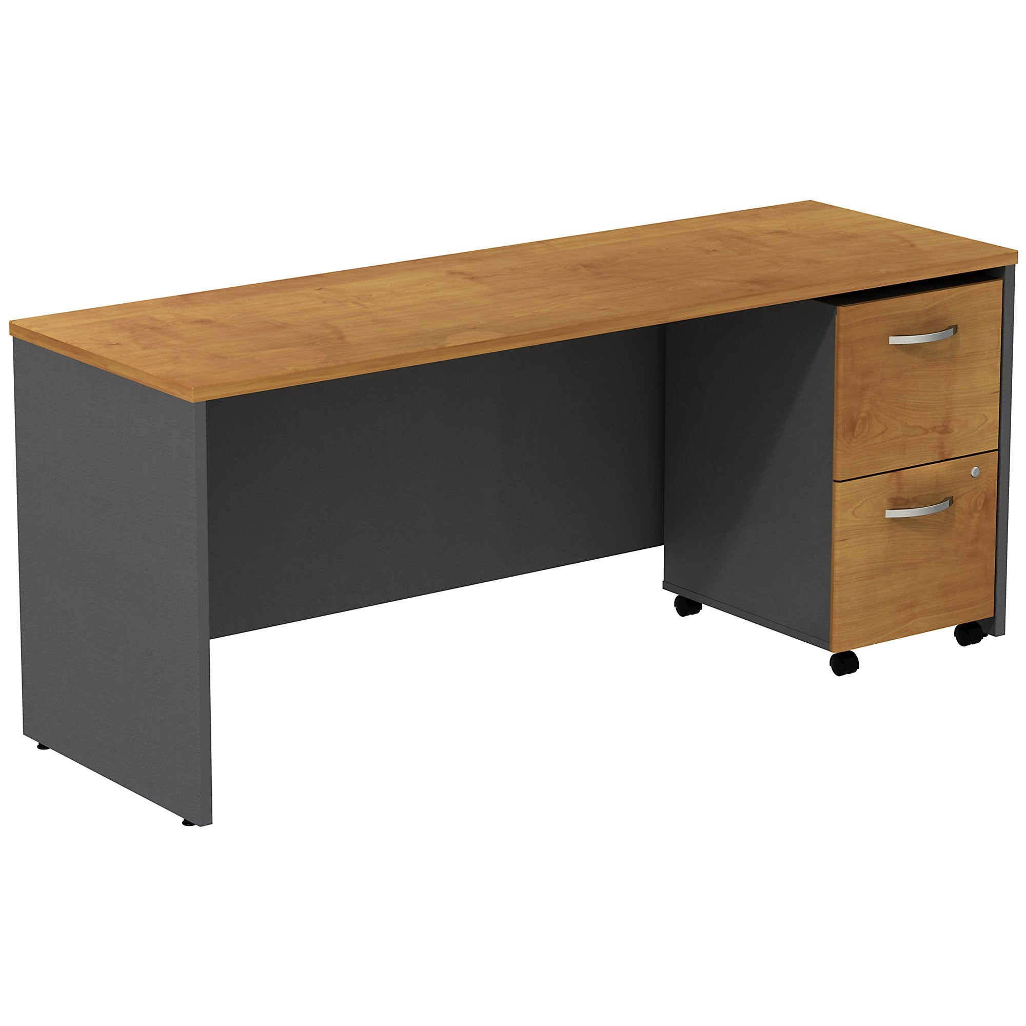 Bush Business Furniture Series C Desk Credenza with 2 Drawer Mobile Pedestal | Natural Cherry/Graphite Gray