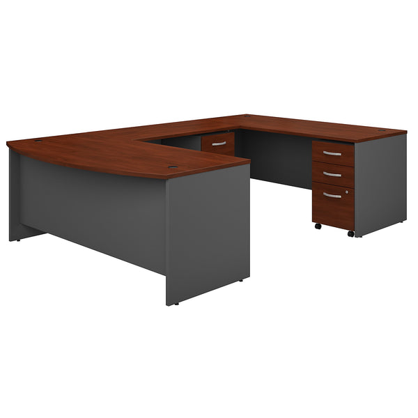 Bush Business Furniture Series C 72W x 36D Bow Front U Shaped Desk with Mobile File Cabinets | Hansen Cherry