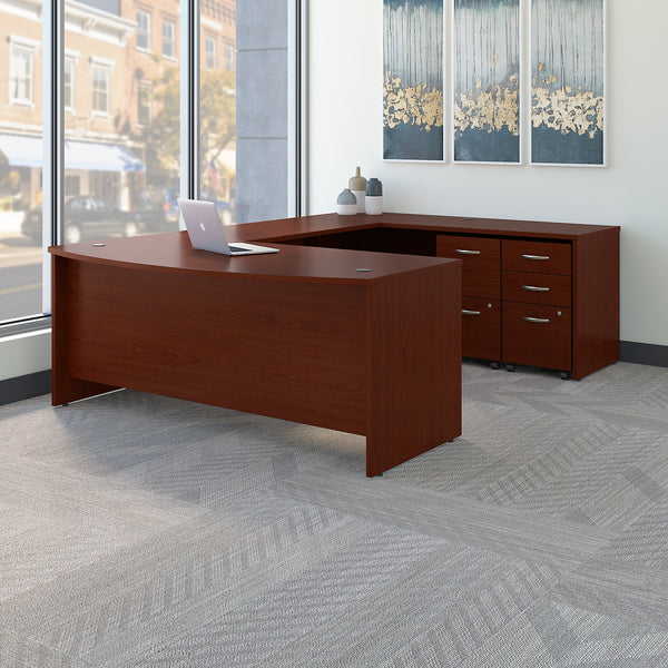 Bush Business Furniture Series C 72W x 36D Bow Front U Shaped Desk with Mobile File Cabinets | Mahogany
