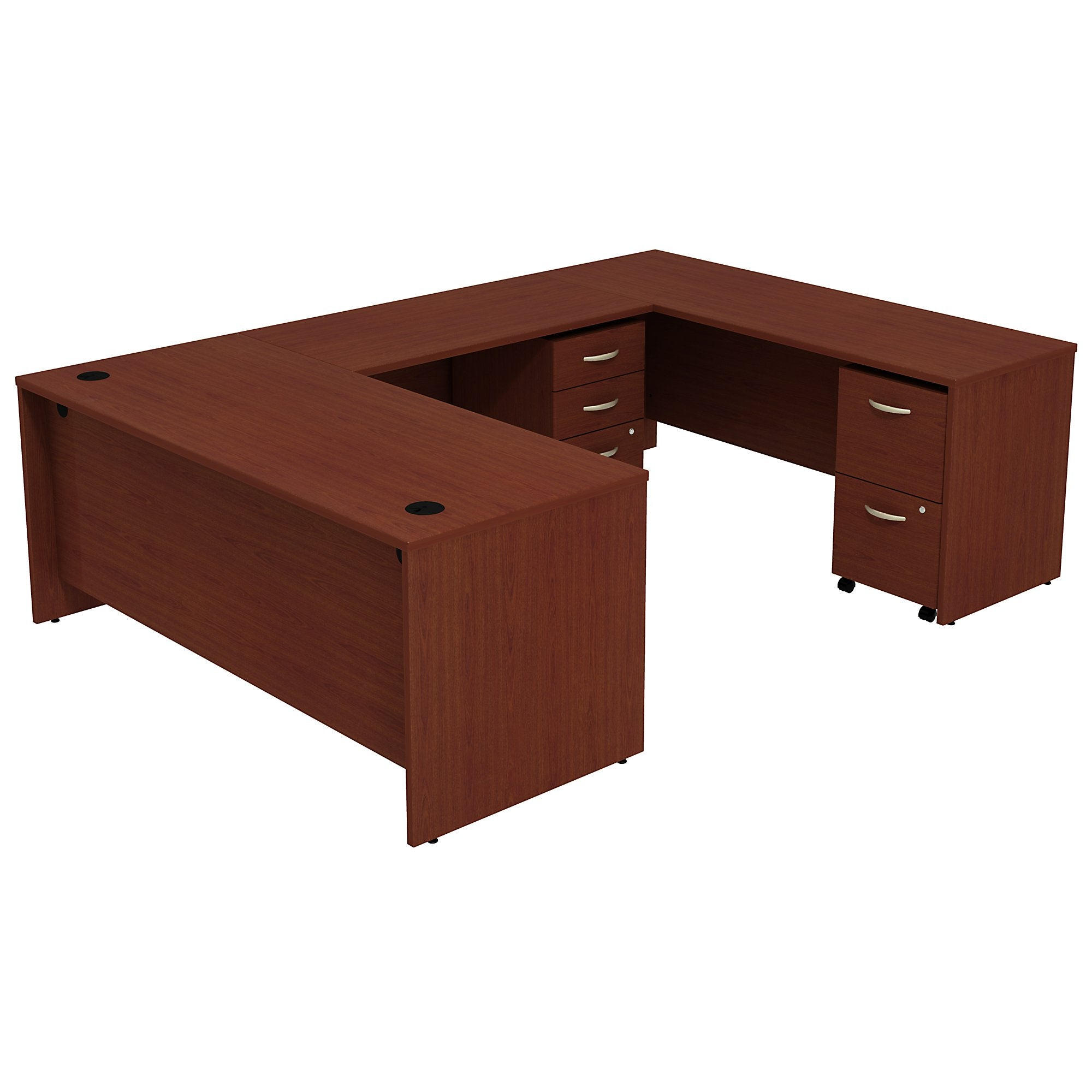 Bush Business Furniture Series C U Shaped Desk with 2 Mobile Pedestals | Mahogany
