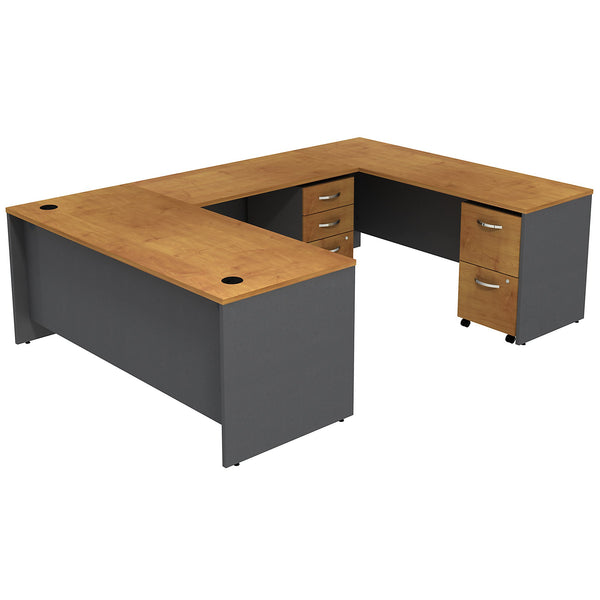 Bush Business Furniture Series C U Shaped Desk with 2 Mobile Pedestals | Natural Cherry/Graphite Gray
