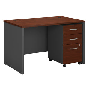 Bush Business Furniture Series C 48W x 30D Office Desk with Mobile File Cabinet | Hansen Cherry