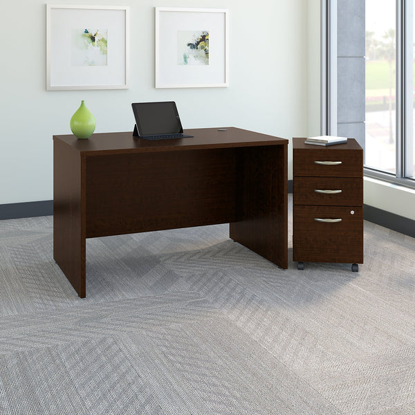 Bush Business Furniture Series C 48W x 30D Office Desk with Mobile File Cabinet | Mocha Cherry