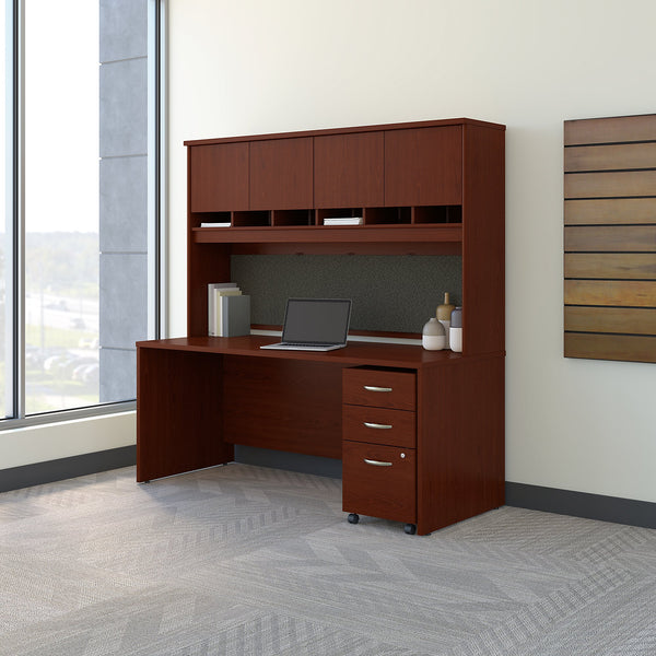 Bush Business Furniture Series C 72W x 30D Office Desk with Hutch and Mobile File Cabinet | Mahogany