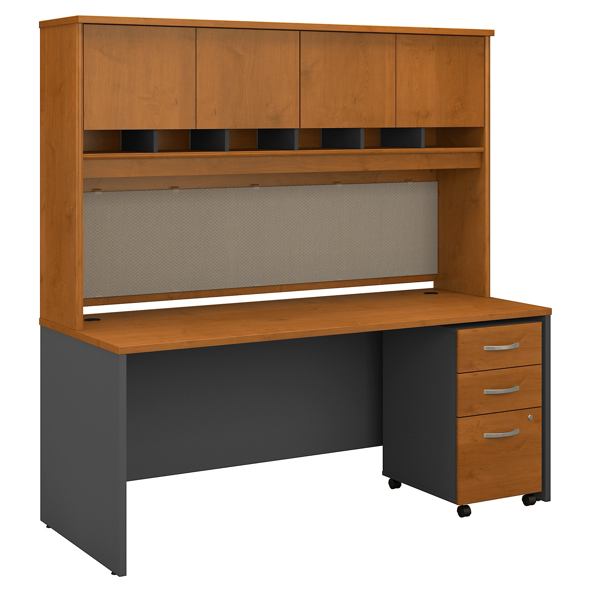 Bush Business Furniture Series C 72W x 30D Office Desk with Hutch and Mobile File Cabinet | Natural Cherry/Graphite Gray