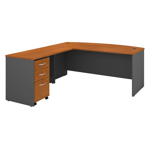 Bush Business Furniture Series C 72W Bow Front L Shaped Desk with 48W Return and Mobile File Cabinet | Natural Cherry/Graphite Gray