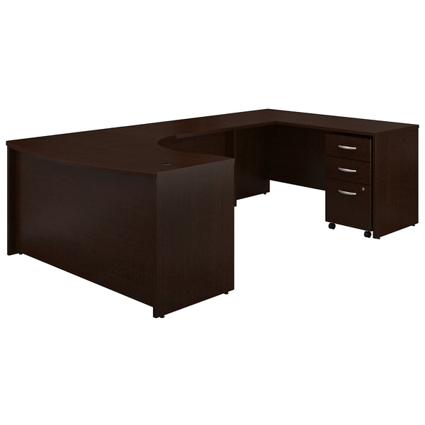 Bush Business Furniture Series C 60W Right Handed Bow Front U Shaped Desk with Mobile File Cabinet | Mocha Cherry
