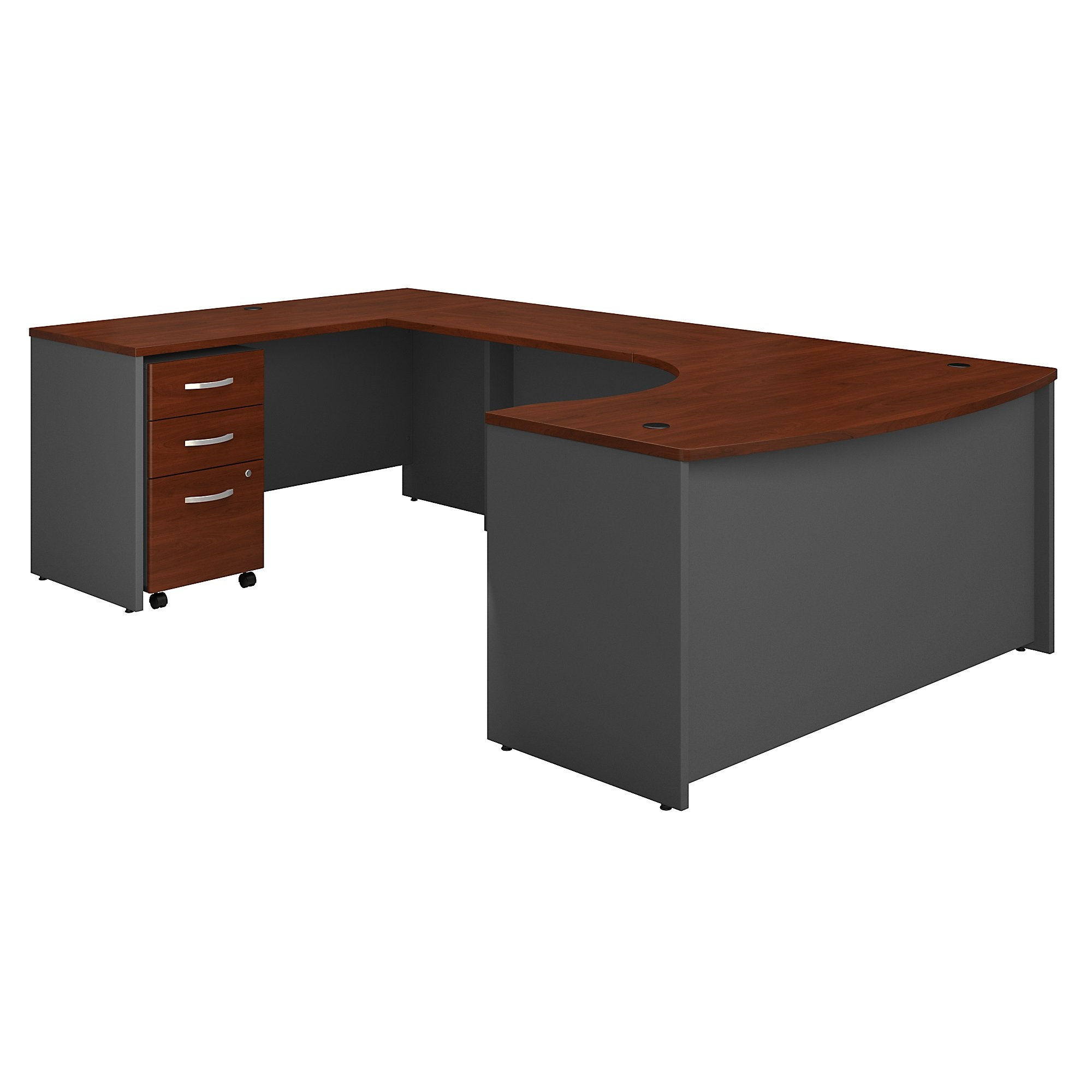 Bush Business Furniture Series C 60W Left Handed Bow Front U Shaped Desk with Mobile File Cabinet | Hansen Cherry/Graphite Gray