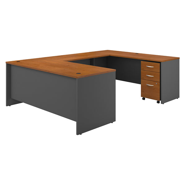 Bush Business Furniture Series C 72W x 30D U Shaped Desk with Mobile File Cabinet | Natural Cherry/Graphite Gray