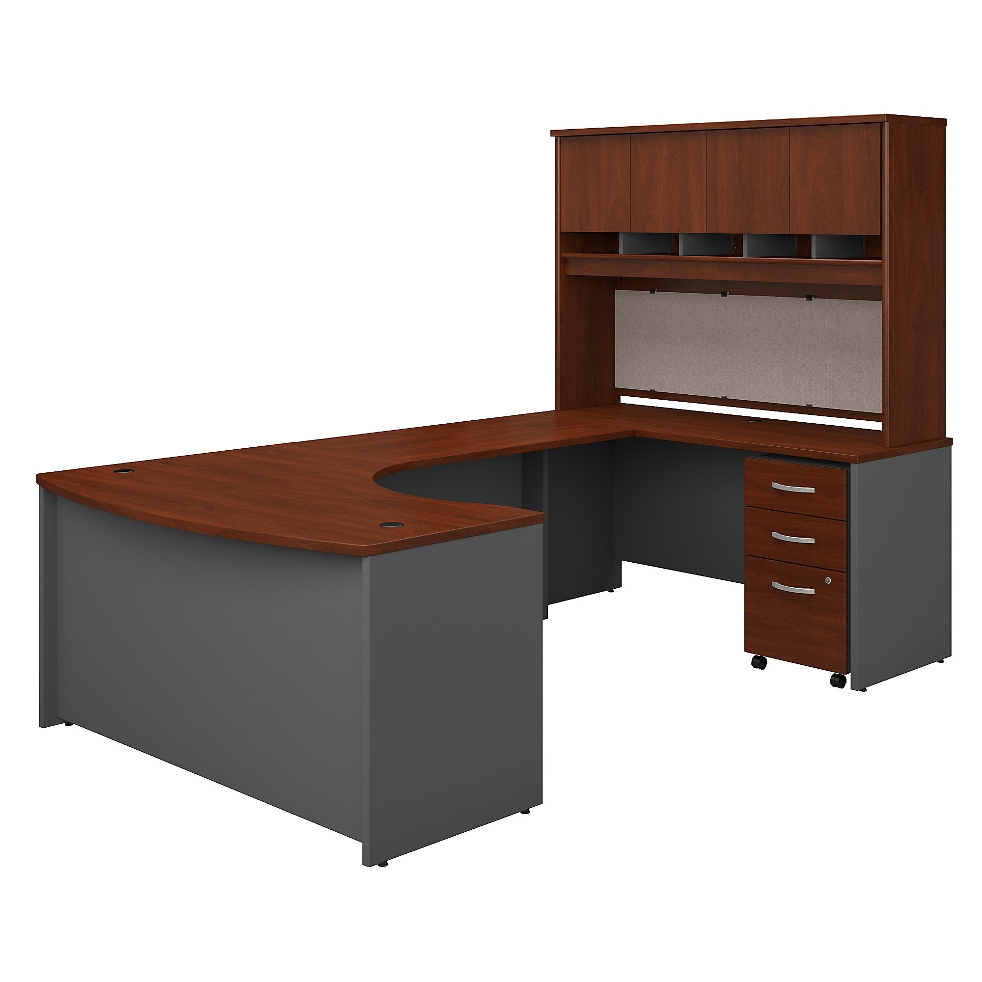 Bush Business Furniture Series C 60W Right Handed Bow Front U Shaped Desk with Hutch and Storage | Hansen Cherry/Graphite Gray