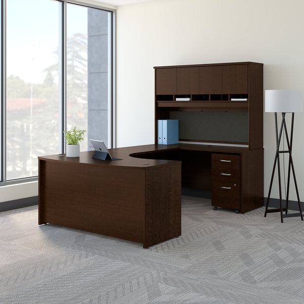 Bush Business Furniture Series C 60W Right Handed Bow Front U Shaped Desk with Hutch and Storage | Mocha Cherry