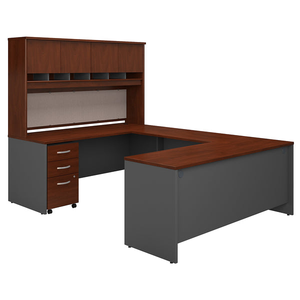 Bush Business Furniture Series C 72W U Shaped Desk with Hutch and Storage | Hansen Cherry/Graphite Gray