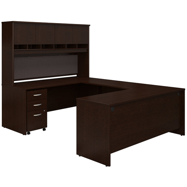 Bush Business Furniture Series C 72W U Shaped Desk with Hutch and Storage | Mocha Cherry
