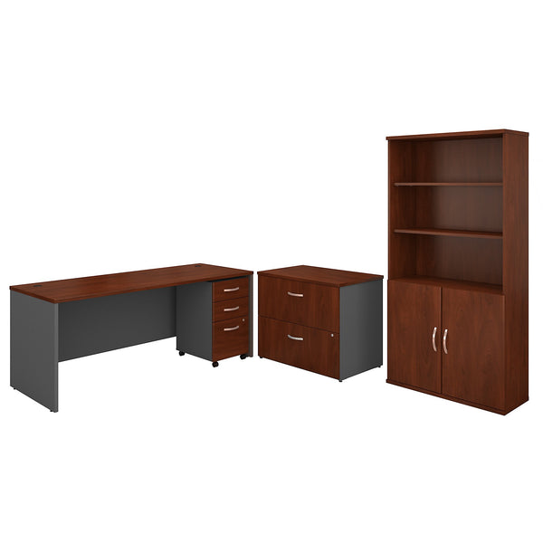 Bush Business Furniture Series C 72W Office Desk with Bookcase and File Cabinets | Hansen Cherry/Graphite Gray