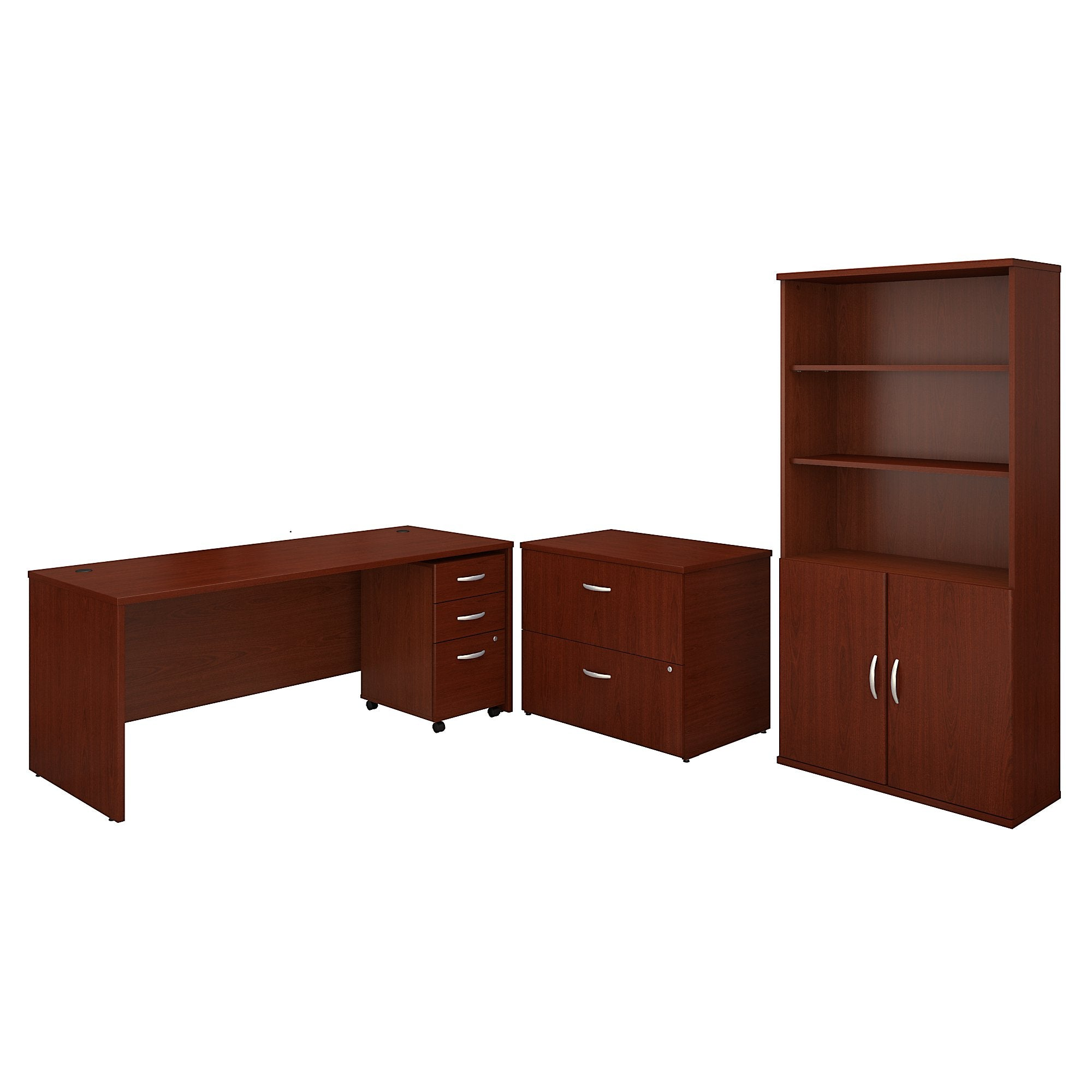 Bush Business Furniture Series C 72W Office Desk with Bookcase and File Cabinets | Mahogany