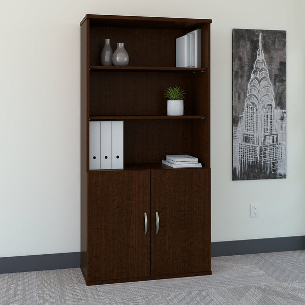 Bush Business Furniture Series C 36W 5 Shelf Bookcase with Doors | Mocha Cherry