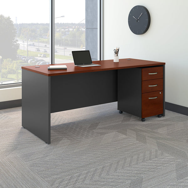Bush Business Furniture Series C 72W x 30D Office Desk with Mobile File Cabinet | Hansen Cherry/Graphite Gray
