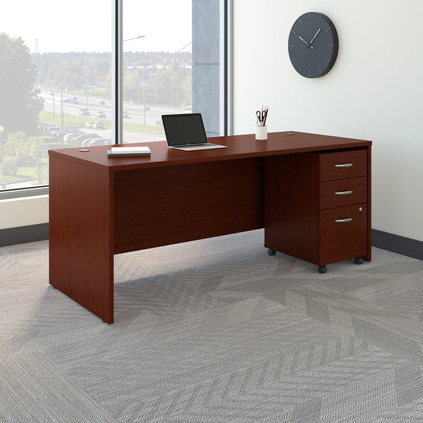 Bush Business Furniture Series C 72W x 30D Office Desk with Mobile File Cabinet | Mahogany