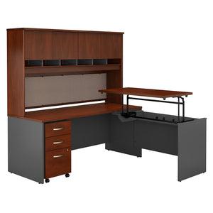 Bush Business Furniture Series C 72W x 30D 3 Position Sit to Stand L Shaped Desk with Hutch and Mobile File Cabinet | Hansen Cherry/Graphite Gray