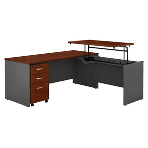 Bush Business Furniture Series C 72W x 30D 3 Position Sit to Stand L Shaped Desk with Mobile File Cabinet | Hansen Cherry/Graphite Gray