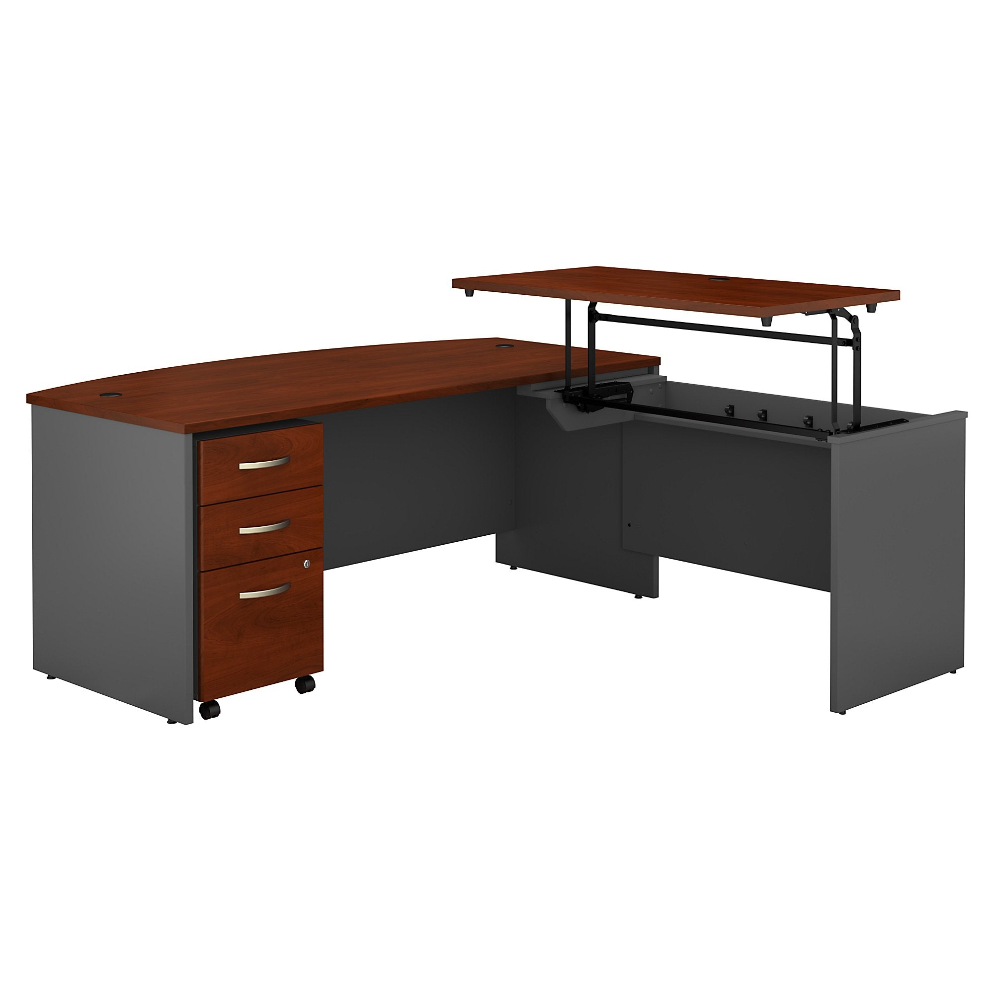 Bush Business Furniture Series C 72W x 36D 3 Position Bow Front Sit to Stand L Shaped Desk with Mobile File Cabinet | Hansen Cherry/Graphite Gray