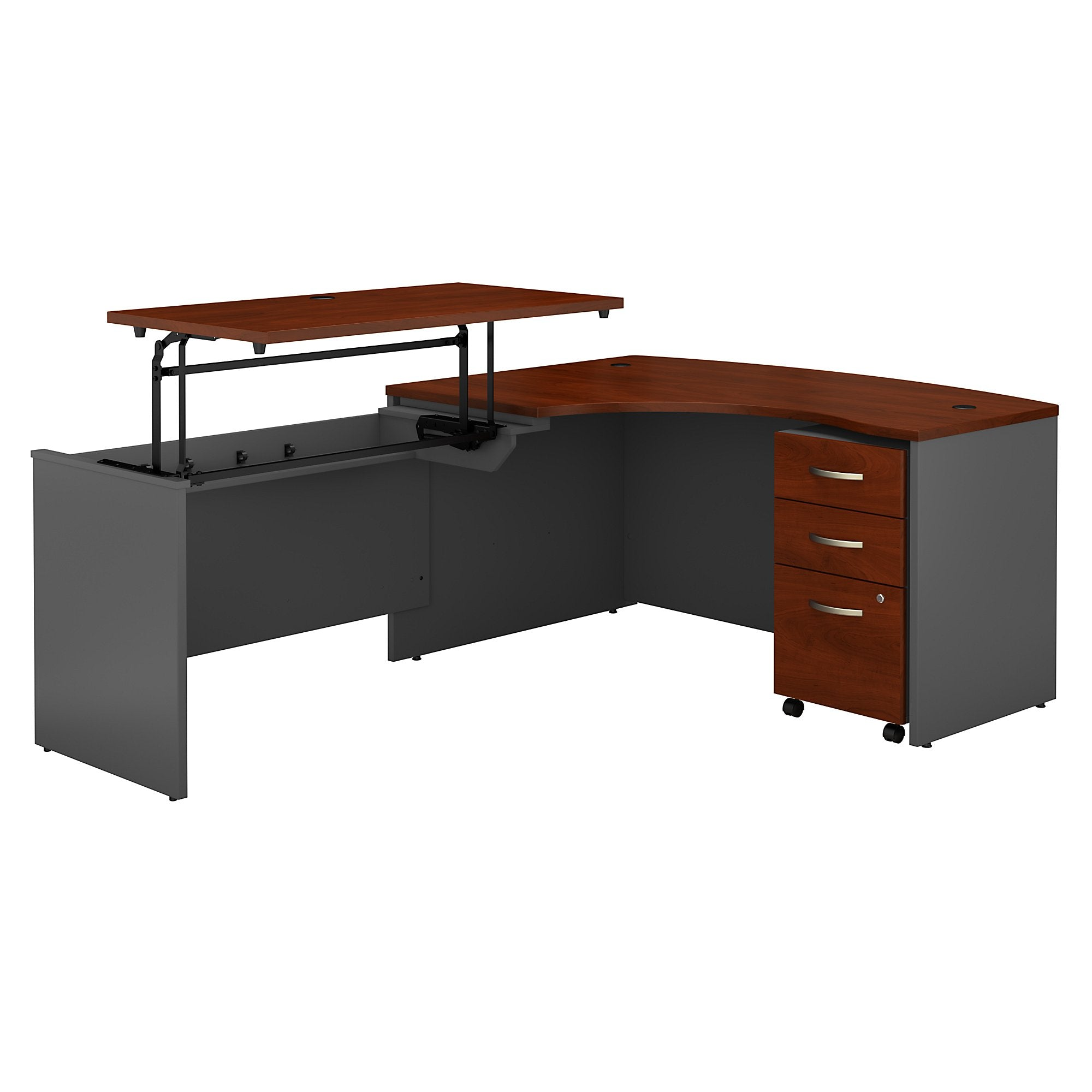Bush Business Furniture Series C 60W x 43D Left Hand 3 Position Sit to Stand L Shaped Desk with Mobile File Cabinet | Hansen Cherry/Graphite Gray